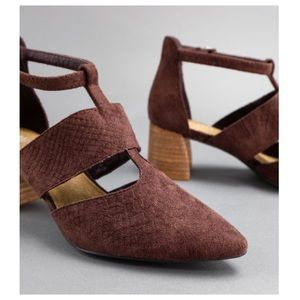 sewchicboutique Shoes - Wine Pointed Toe T-Bar Heel Suede Booties